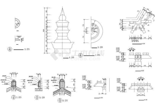某古建仿唐紫云阁CAD景观设计施工图-图二