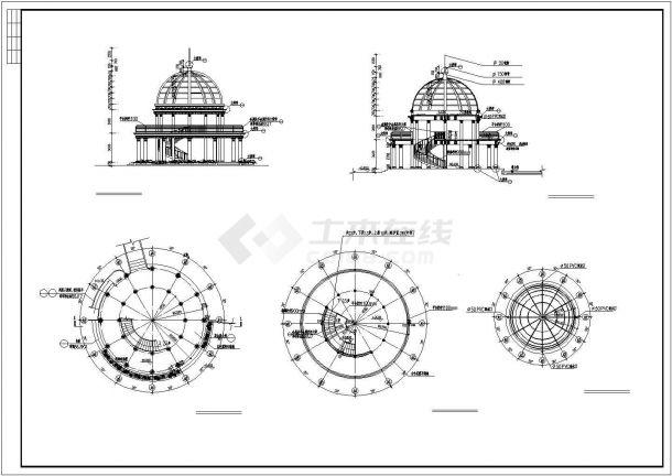 某欧式亭CAD景观设计施工详图-图二