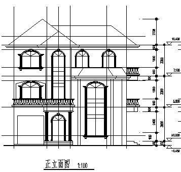 别墅设计_某三层欧式独立别墅建筑施工cad图,含效果图-图二
