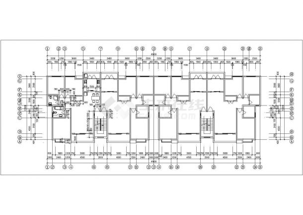 绍兴市安锦嘉园小区7层砖混结构住宅楼平剖面设计CAD图纸-图二