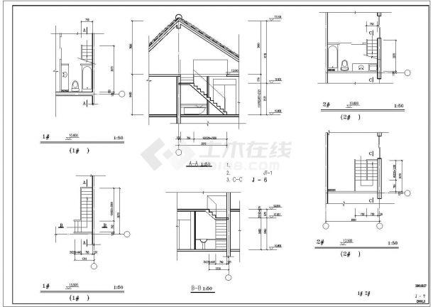 成都某工厂2层砖混结构职工宿舍楼建筑设计CAD图纸(含坡屋顶/2套方案)-图一