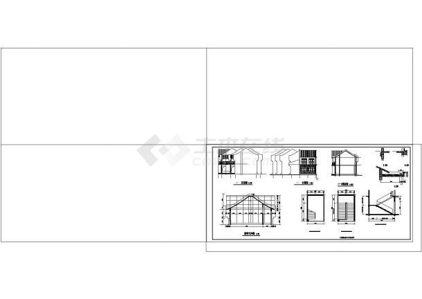 徽式四合院建筑-含宾馆,办公,戏楼,茶楼全套建筑CAD施工图-图二