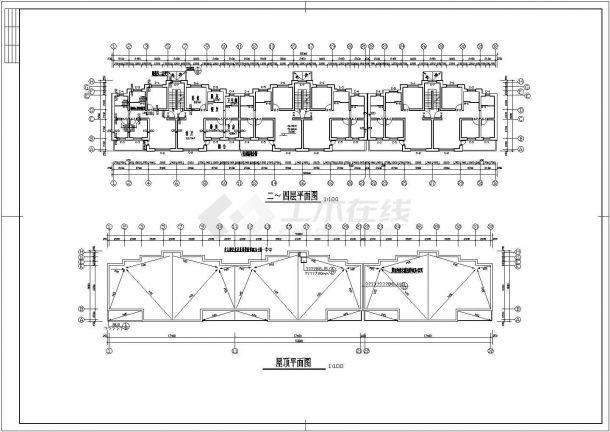 太原市迎春花园小区1700平米4层砖混结构住宅楼建筑设计CAD图纸-图二