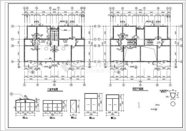 西安市兴庆家园小区930平米4层砖混结构住宅楼建筑设计CAD图纸-图一
