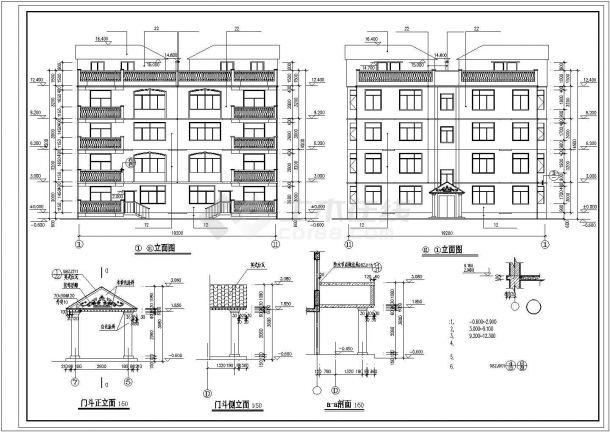西安市兴庆家园小区930平米4层砖混结构住宅楼建筑设计CAD图纸-图二