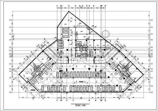 大连市御庭苑小区5层砖混结构住宅楼平面设计CAD图纸(含地下室)-图一