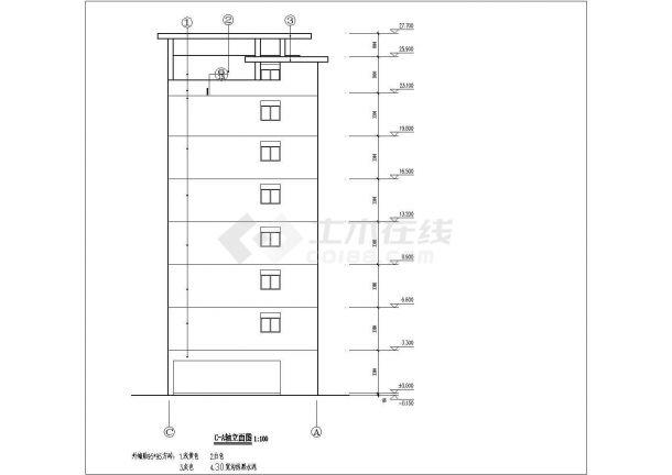 衢州第四中学教师家属院6层砖混结构住宅楼建筑设计CAD图纸(含天面层)-图二