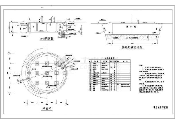 [泵站闸门] 500立方米蓄水池施工图cad设计图(供水工程)-图一