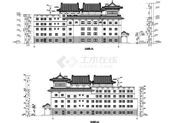 某市新天地大型酒店立面图-图二