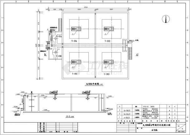 某4500m3_d啤酒污水处理工程设计cad详细工艺施工图纸-图一