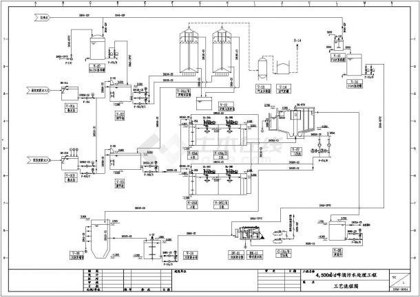 某4500m3_d啤酒污水处理工程设计cad详细工艺施工图纸-图二