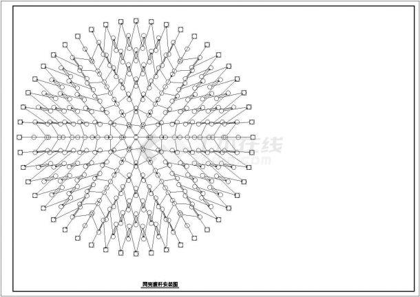 北京市某大学艺术中心综合楼屋顶20m双层网壳结构设计CAD图纸-图二