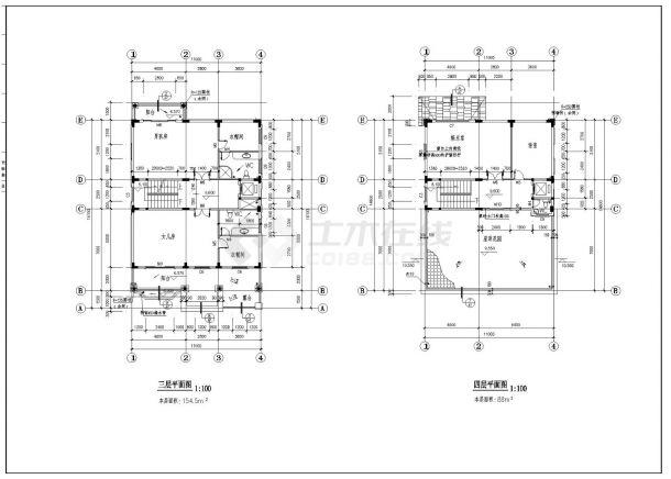 523平方米四层独栋别墅建筑全套施工cad图纸,含效果图-图一