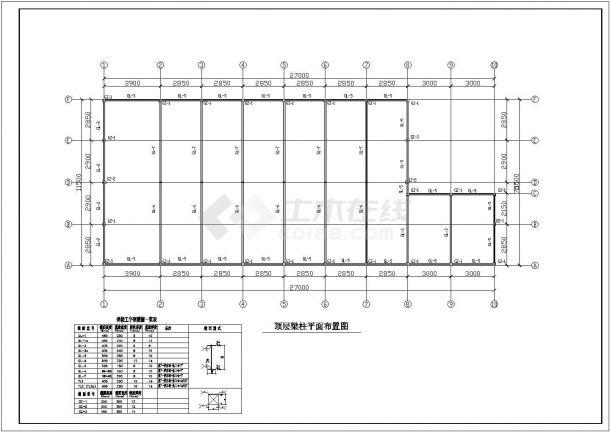 某食堂三层钢框架结构设计cad施工图-图一
