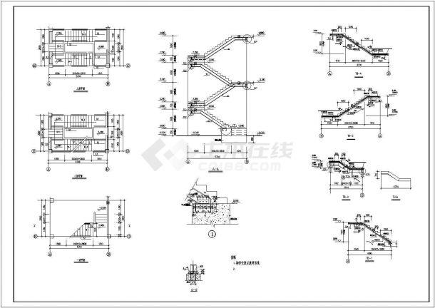 某食堂三层钢框架结构设计cad施工图-图二