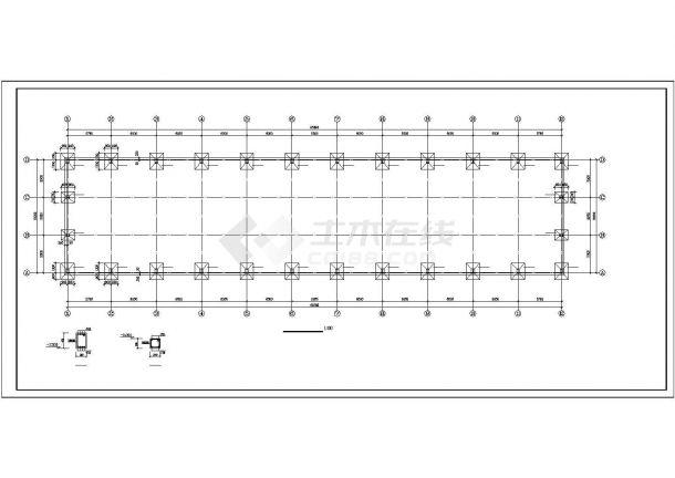 【最新】某轻型钢结构厂房设计方案CAD图纸-图一