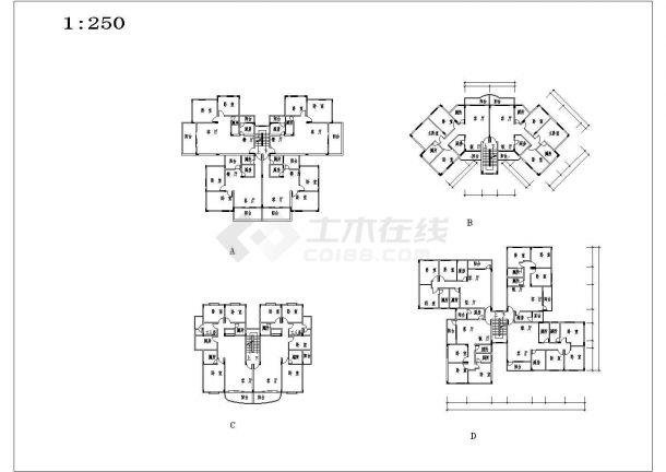 某大型多层住宅小区规划设计cad总平面施工图(含技术经济指标及户型图)-图一