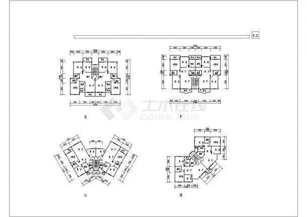 某大型多层住宅小区规划设计cad总平面施工图(含技术经济指标及户型图)-图二