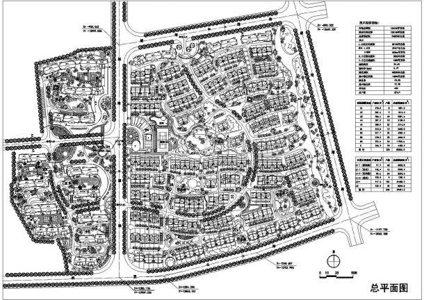 某建设用地面积120135平方米大型多层住宅小区规划设计cad总平面施工图(含技术经济指标)-图一