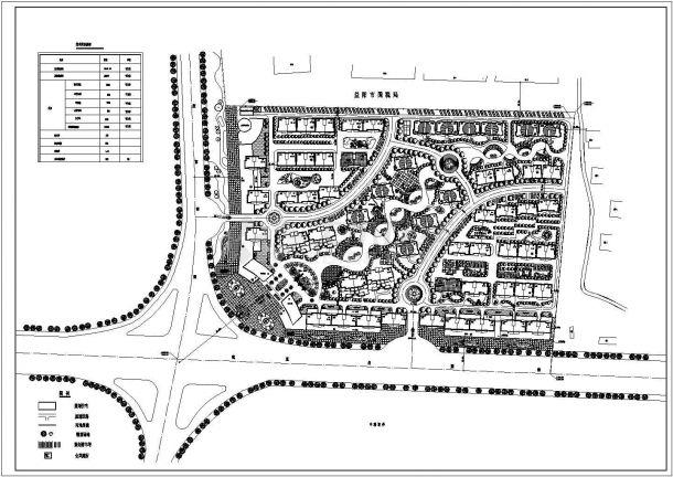 某现代多层住宅小区规划设计cad总平面施工图(含技术经济指标)-图一