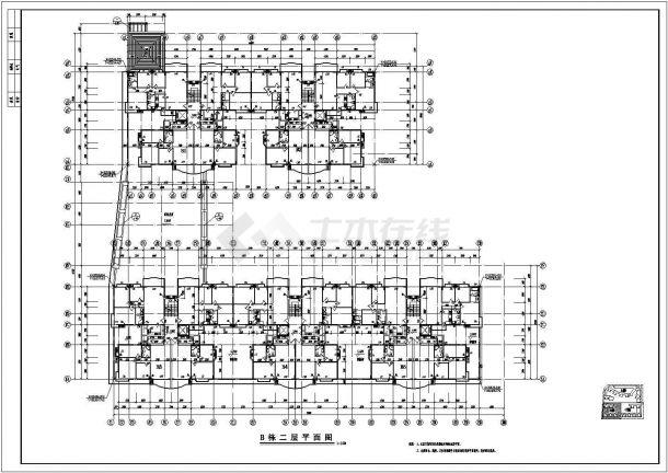 南方某高层住宅小区全套建筑施工设计cad图(B栋)-图二