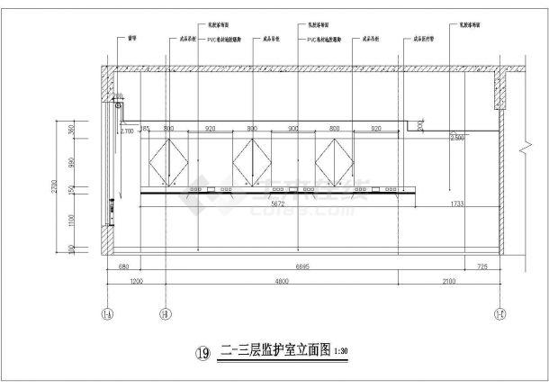 大医院装修施工设计方案CAD图-图二