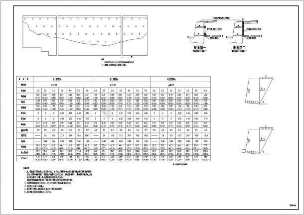 典型室外重力式挡土墙设计CAD施工大样图(含设计说明)-图一