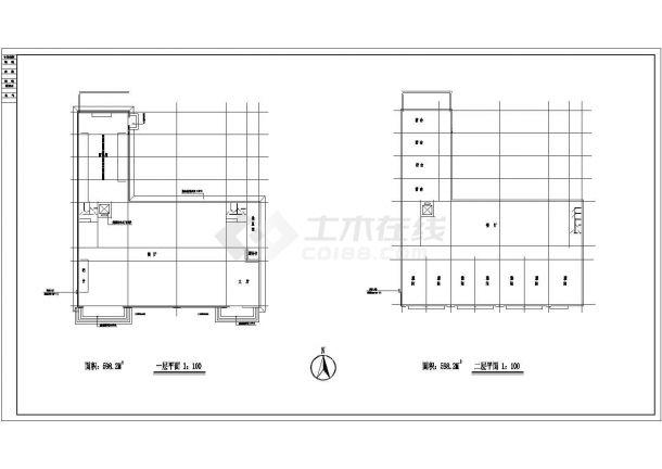 重庆市某商业街2160平米4层框架结构招待所平立剖面CAD设计图纸-图一