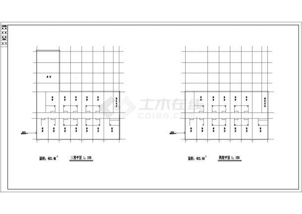 重庆市某商业街2160平米4层框架结构招待所平立剖面CAD设计图纸-图二
