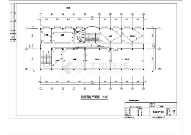 某地上五层办公楼电气设计cad施工图纸-图一