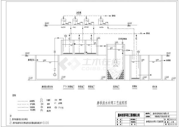 广州市某大型线路板制造厂生产废水处理工艺流程设计CAD图纸-图一