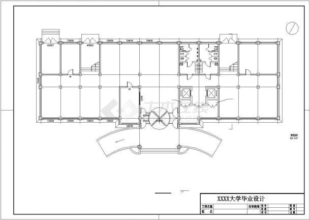 某框架结构四层办公楼毕业设计cad详细建筑施工图(含设计说明,含结构设计,含计算书、施工组织、施工进度计划表、施工平面图等)-图二