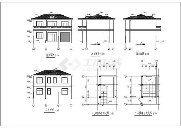 某2层砖混结构农村自建房设计cad详细结构施工图(含设计说明,含建筑设计)-图一