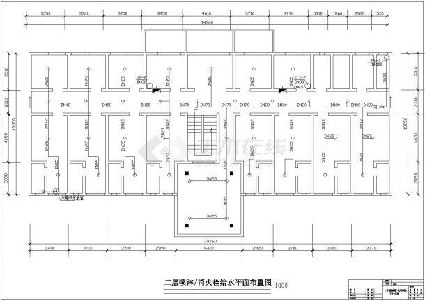 某地区民生建筑综合楼火灾报警系统布线设计CAD资料-图二