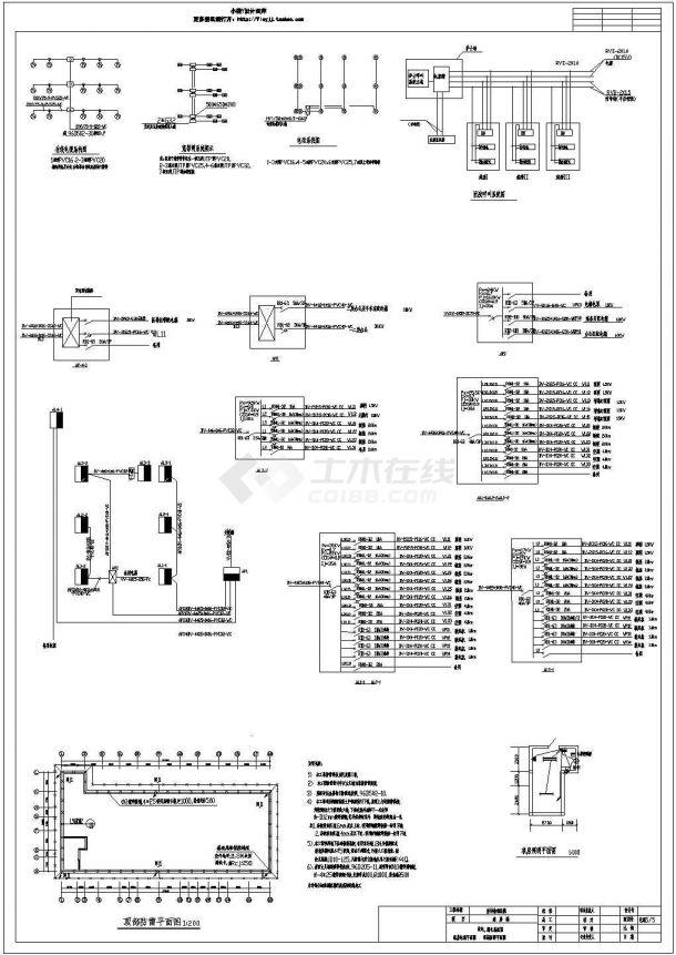 某地区砖混民生建筑综合楼火灾报警系统布线设计CAD资料-图一