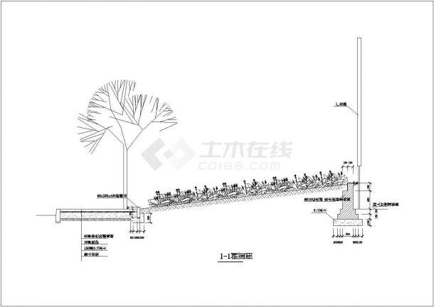路铺装及绿化景观设计图-图一