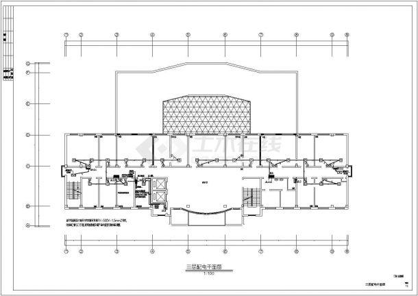 某地区市中心建筑各层竖向及低配电系统设计CAD资料-图一