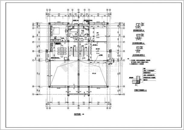 某高档小区三层框架结构住宅楼设计cad全套建筑施工图(含设计说明)-图一
