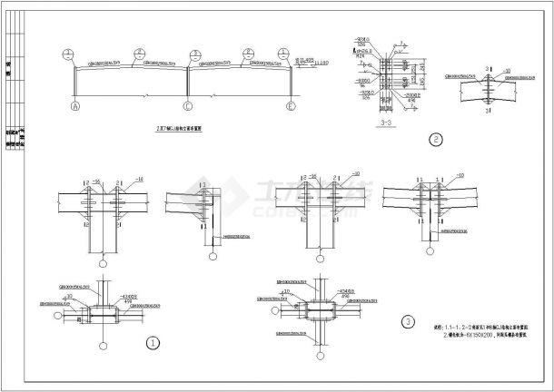 某三层钢框架结构商业楼设计cad详细结构施工图(含设计说明)-图一