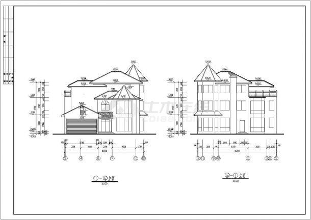 某钢筋混凝土现浇异型柱轻型框架结构三层别墅设计cad全套建筑施工图(含设计说明)-图一