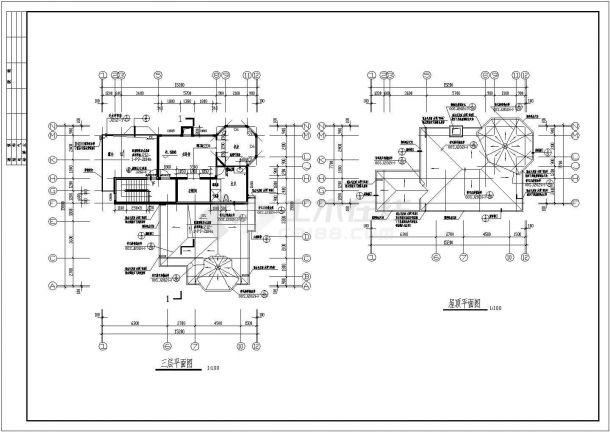 某钢筋混凝土现浇异型柱轻型框架结构三层别墅设计cad全套建筑施工图(含设计说明)-图二