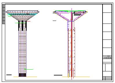 49米高体育中心景观塔结构cad设计施工图(含建筑图18吨消防水箱)-图一