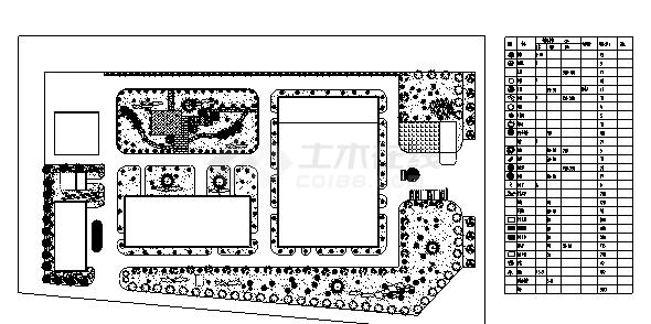 医院设计_某医院景观植物配置设计cad图(含平面图)-图一