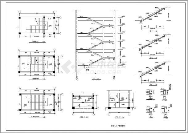 某主体四层局部五层框架结构商业楼设计cad全套结构施工图(含设计说明)-图二