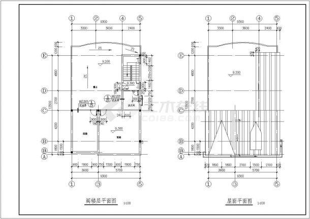 某三层带阁楼层砖混结构新农村住宅楼设计cad全套建筑施工图-图二