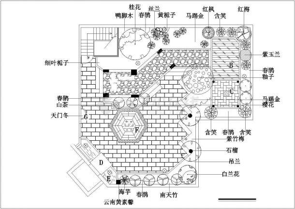 某多层住宅楼屋顶花园设计 cad全套施工图-图二