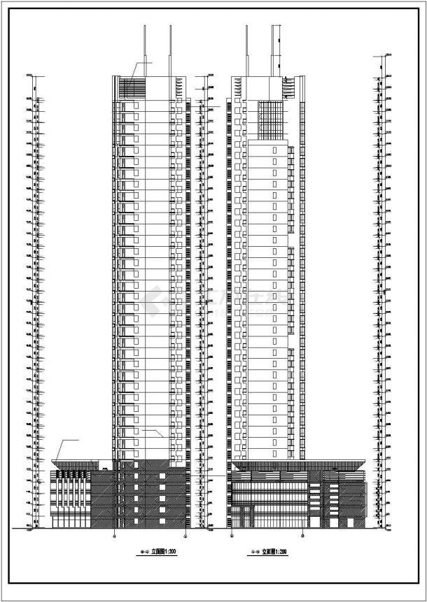 天津某商业街38层剪力墙结构商住楼建筑设计CAD图纸(1-5层商用)-图一