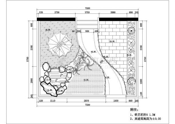 江南春城小区某住宅楼屋顶花园景观设计cad详细施工图纸-图二