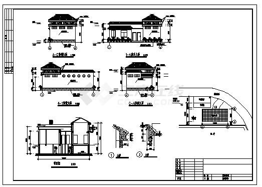 某单层框架结构简欧风格公共厕所建筑结构施工cad图_公共厕所施工-图二