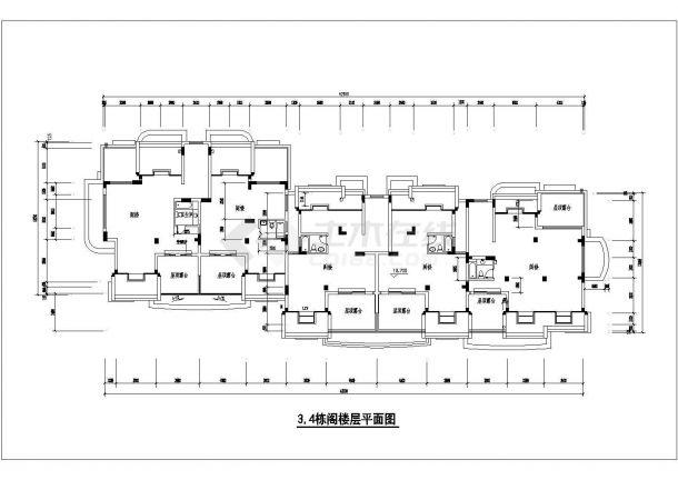 京润国际花园小区某多层框架结构住宅楼设计cad建筑方案图-图二